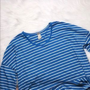 FREE PEOPLE BLUE STRIPED BELL SLEEVE TOP